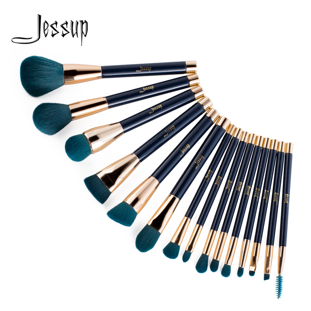 Jessup pincéis de maquiagem conjunto 15 pçs azul/roxo pó sombra delineador contorno fundação cosméticos pincel maquiagem dropshipping