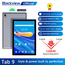 Blackview – tablette PC de 10.1 pouces Tab 9, Android 10, 1920x1200, Octa Core, 4 go de RAM, 64 go de ROM, réseau 4G, caméra arrière 13mp, 7480mAh