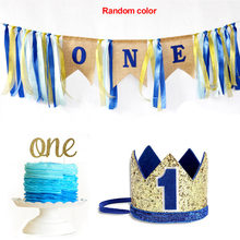 Cake Smash Banner Set High Chair Baby Letter Cartoon Colorful With Hat Burlap Happy Girl Boy DIY 1st Birthday Decoration(China)
