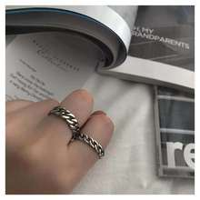 Simple Retro Distressed S925 Sterling Silver Thai Silver Craft Chain Twist Ring Open Ring Ring 925 sterling silver personality retro winding ring ladies old thai silver twist open ring fine jewelry party elegant accessories