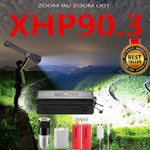 Led Flashlight XHP90.3 Tactical Torch Rechargeable-Battery Brightest Most-Powerful 10000LM
