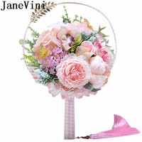 JaneVini Chinese Style Pink Wedding Flowers Bridal Fan Artificial Red Rose Peonies Wedding Bouquet Gold Leaf Tassel Bride Fans