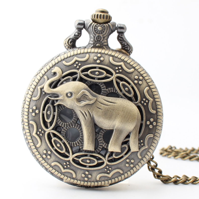 Pocket & Fob Watch Bronze Cute Animal Elephant  Quartz Pocket Watch Necklace Pendant Watch Chain Xmas Watch Gift Men/Women