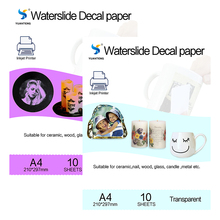 (20pcs=10 clear+10 white) Inkjet Water Slide Decal Paper A4 Size Printing Transfer Paper Waterslide Decal Paper For Plate