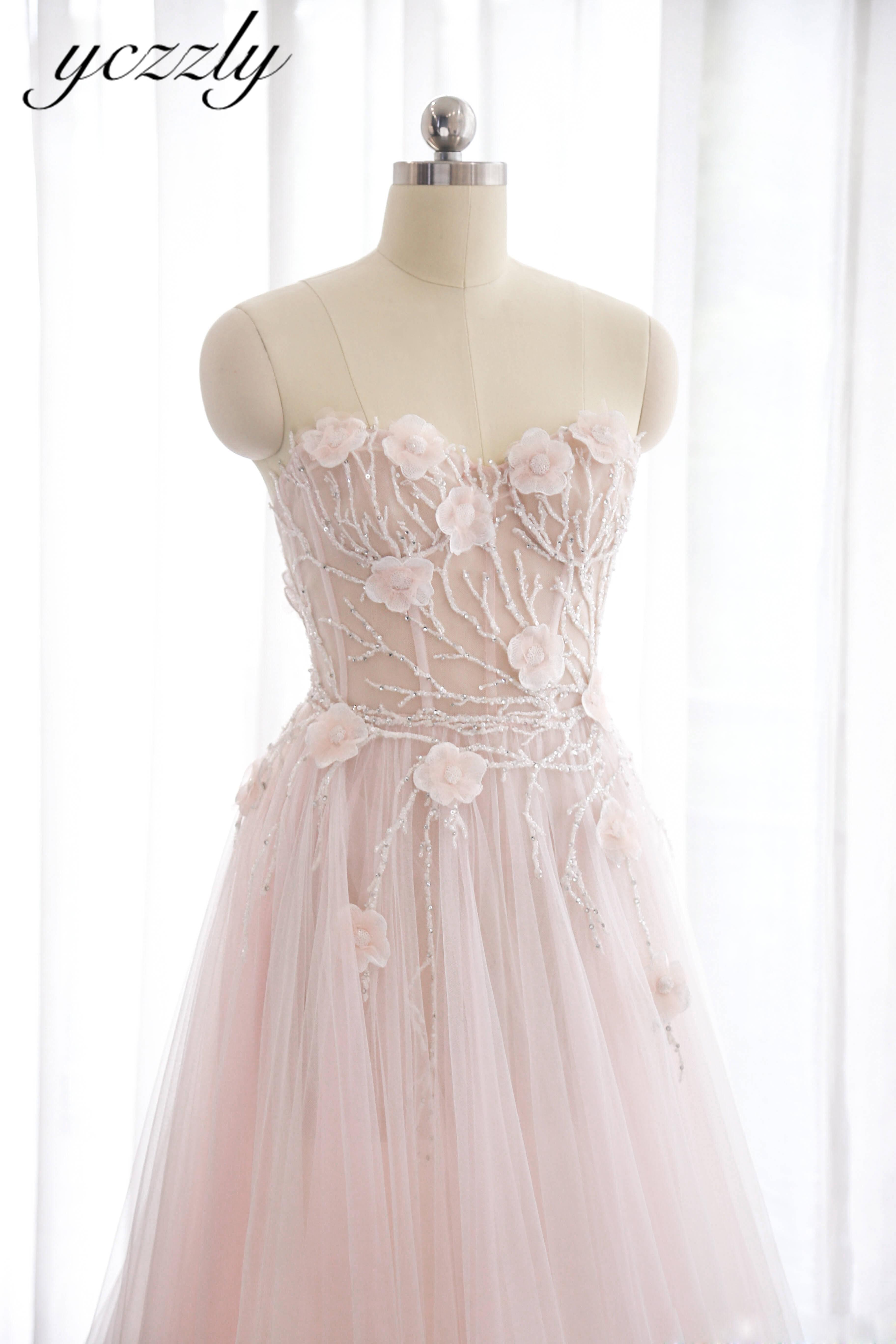 Simple A line Sweetheart Flowers Crystal Long Beach Wedding Dress