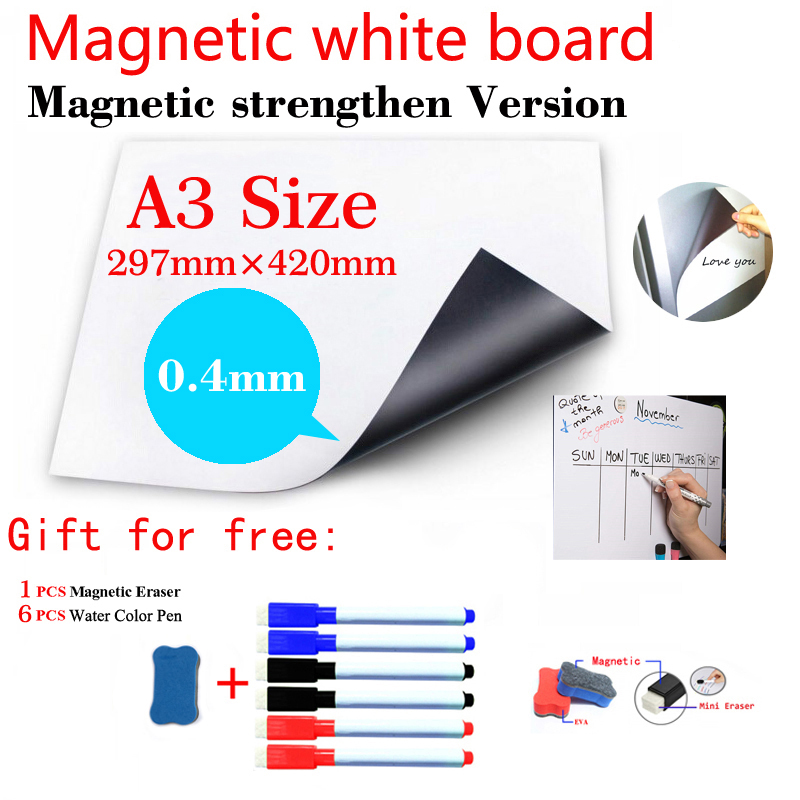 Magnetic Strengthen Version A3 Size Magnetic Whiteboard For Kids Home Office Dry Erase Board White Boards Fridge Wall Stickers