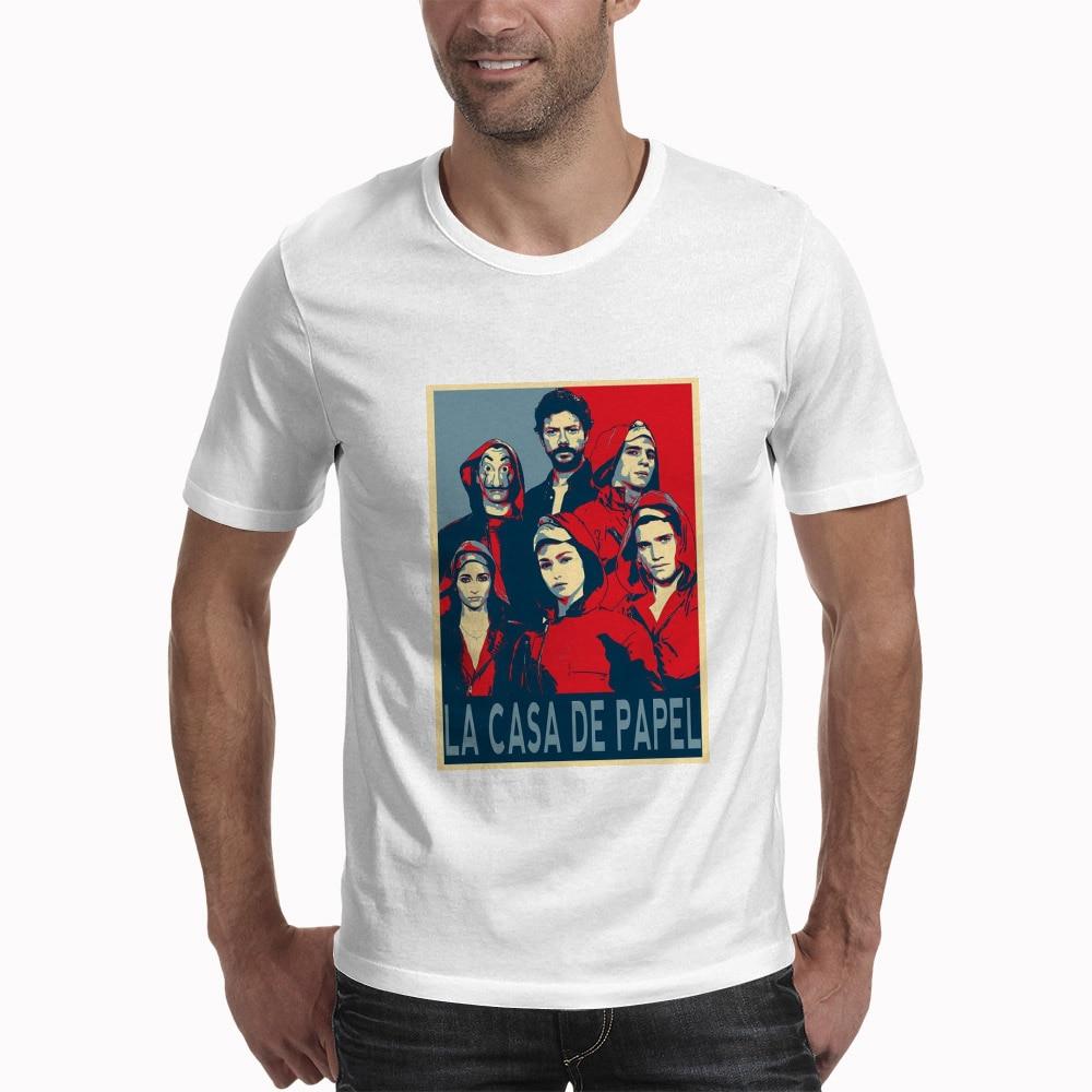 House Of Paper Tee La Casa De Papel Mask Men's T Shirt Money Heist Vintage Round Neck T-Shirt Plus Size Tops