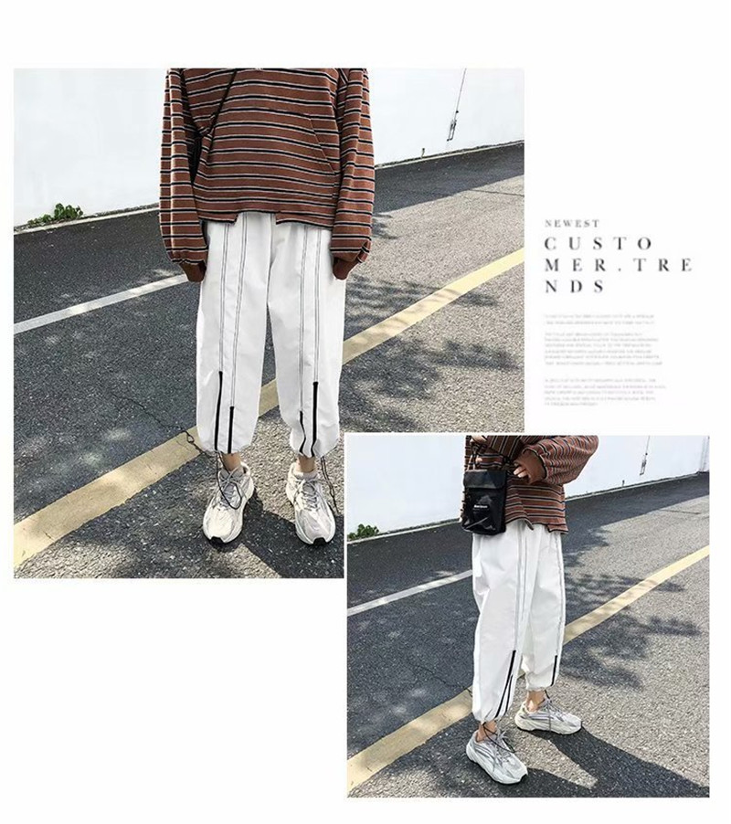 Summer Loose Casual Ankle-Length Pants Thin Men`s Women Jogger Pants Fashion Teens Boys Girls Joggers Sports Striped Trousers (4)