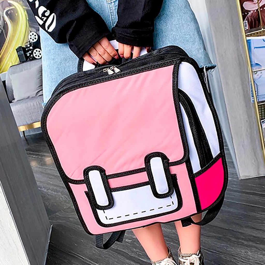 Женский рюкзак 3D Jump style 2D рисунок мультфильм задняя Сумка комический мессенджер Tote модные милые школьные сумки рюкзак унисекс Bolos