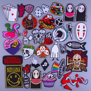 Punk Skull Patch On Clothes Cartoon Anime Stripes Embroidered Patches For Clothing Iron On Patches For Clothes Badge DIY T-shirt