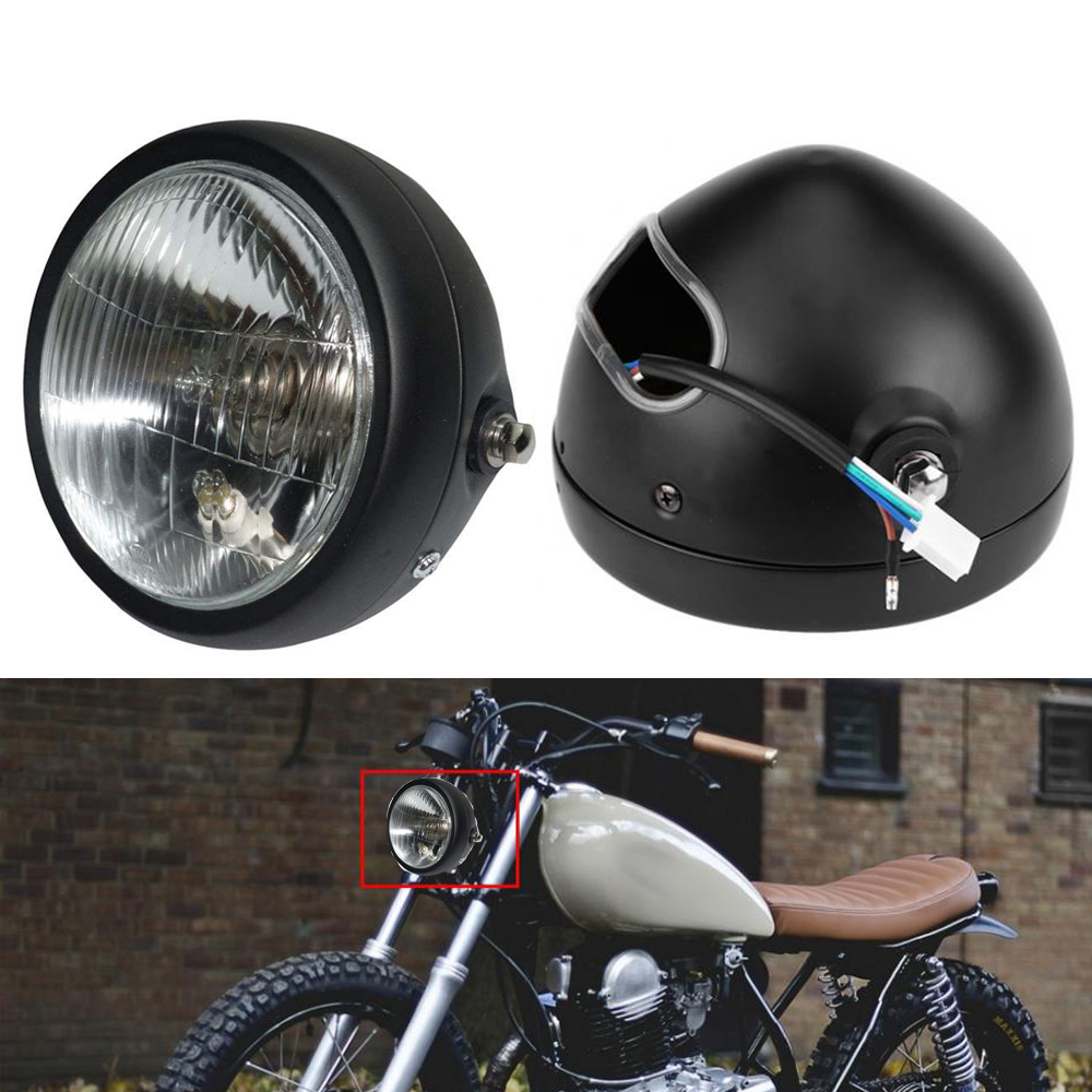 Motorcycle Headlight Black Metal Retro Halogen Front Light 12V Fits For CG125 GN125 CB CL Yamaha Suzuki Cafe Racer Bobber Custom