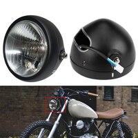 Motorfiets Koplamp Black Metal Retro Halogeen Front Light 12 V Past Voor CG125 GN125 CB CL Yamaha Suzuki Cafe Racer bobber Custom op