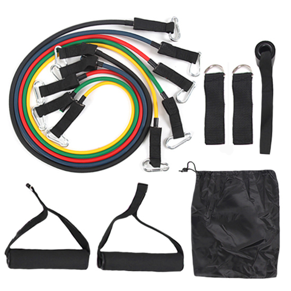 11pcs TPE Resistance Band Strength Gym Equipment Home Elastic Pull Rope Home Fitness Workout Body Building Equipment Yoga Pack