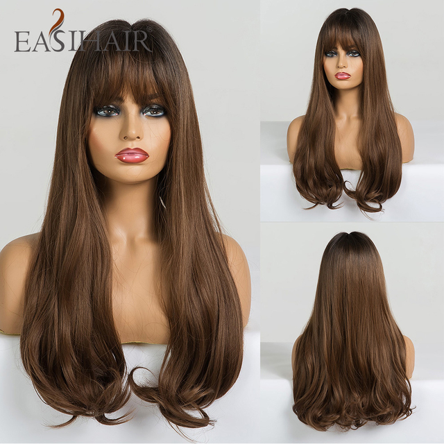 EASIHAIR Long Brown Wave Wigs with Bangs Synthetic Glueless Wigs High Temperature Natural Hair Wig For Black Women Cosplay Wigs