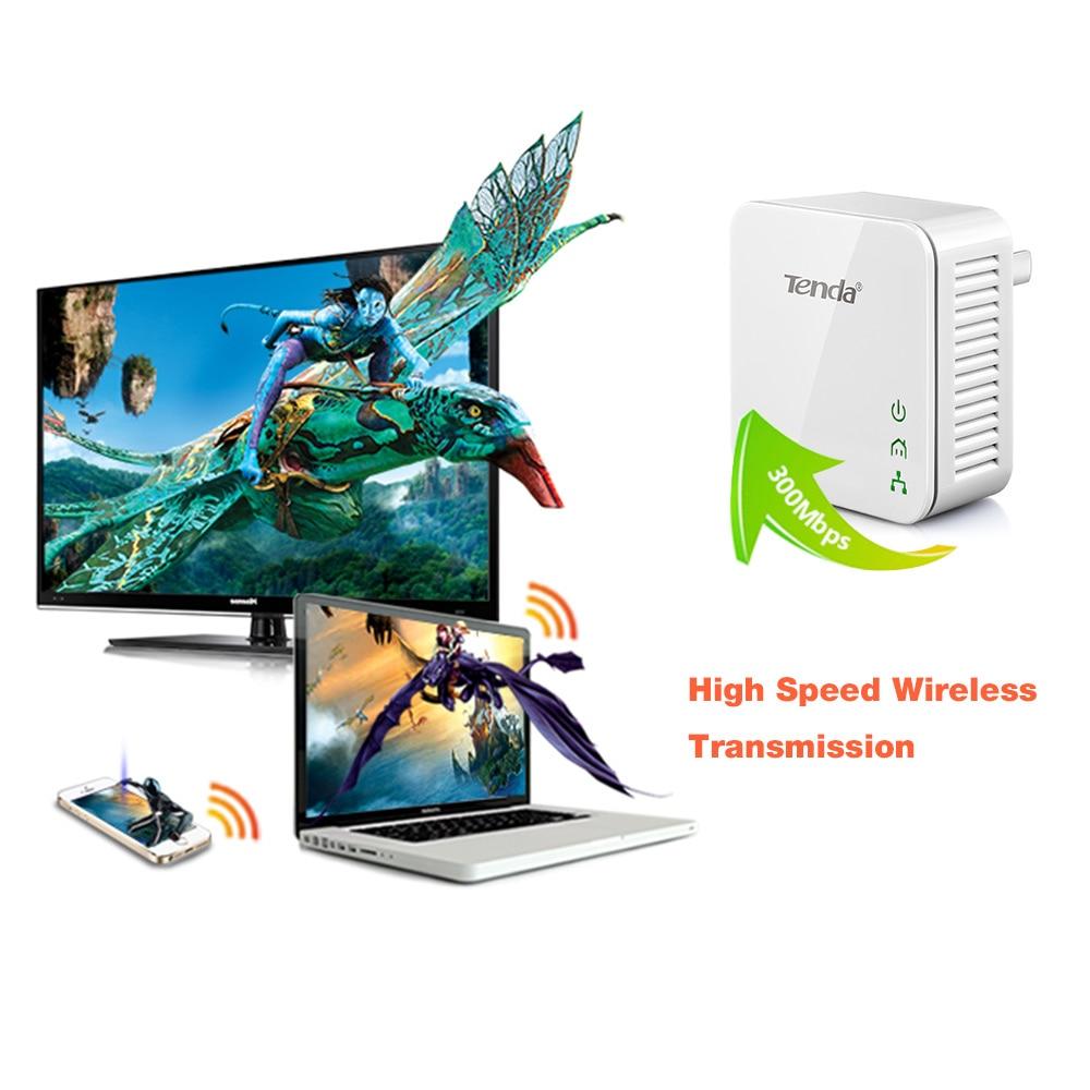 1pair Tenda 200Mbps Powerline Network Adapter Ethernet PLC Adapter KIT Power Line Adapter IPTV Homeplug AV2, Plug And Play