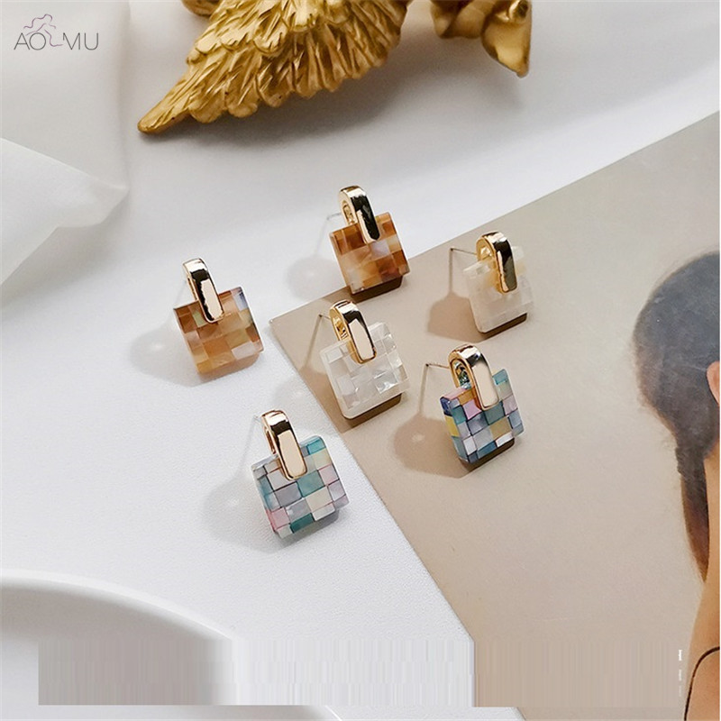 AOMU Sweet Mosaic Candy Color Acrylic Square Vintage Metal Drop Earrings For Women Birthday Gifts Wedding Party Pendientes