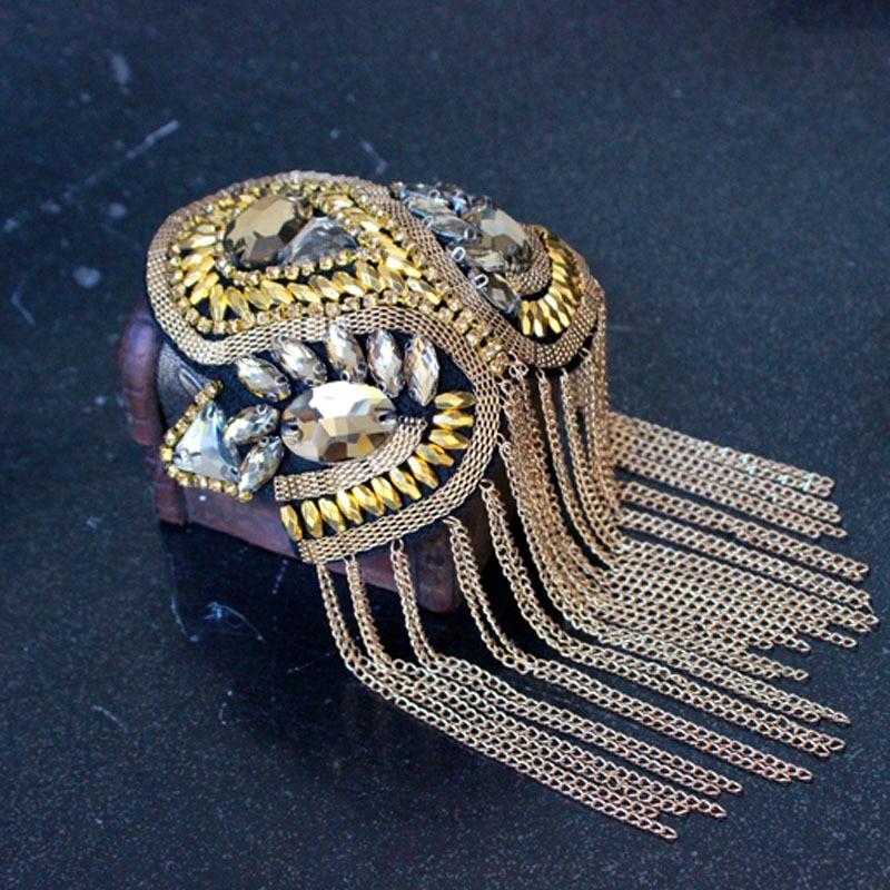 Image 4 - 2pcs Classic Handmade Metal Tassel Epaulette Jewelery Tassel Big Shoulder Brooch Epaulet Epaulettes Spikes Blazer AccessoriesBrooches   -