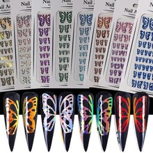 3D Large Butterfly Nail Art Stickers For Nails Manicure Sliders Accessories Adhesive Transfer Foils Decals Wraps Decorations