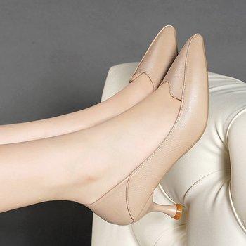 Wiosna Ol damskie buty do biura damskie buty na wysokim obcasie buty sukienka Pointed Toe buty łodzi czarne buty damskie Spike zapatos mujer 9039G tanie i dobre opinie RoMeetSe podstawowe Szpilki CN (pochodzenie) Z niewielkim szpicem Wysoka (5 cm-8 cm) Dobrze pasuje do rozmiaru wybierz swój normalny rozmiar