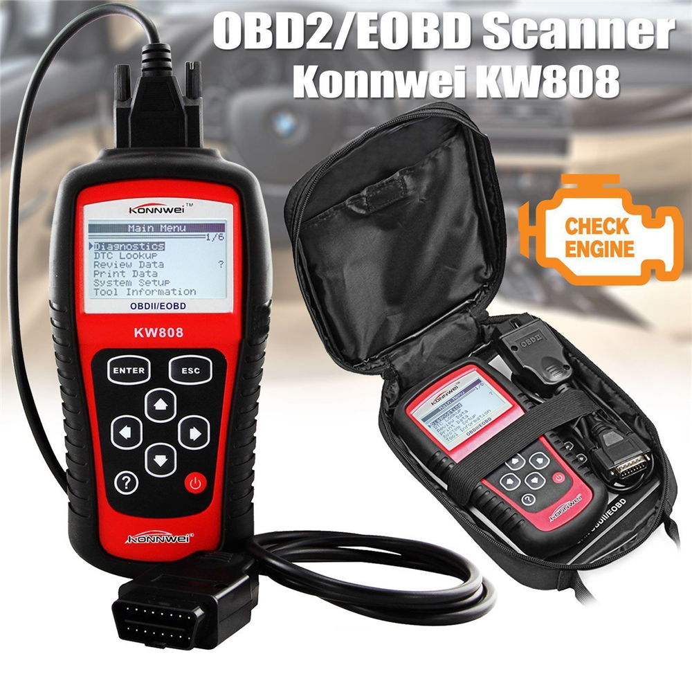 Original KONNWEI KW808 OBD Car Scanner OBD2 Auto Automotive Diagnostic Scanner Tool Supports  J1850 Engine Fualt Code Reader Dfd