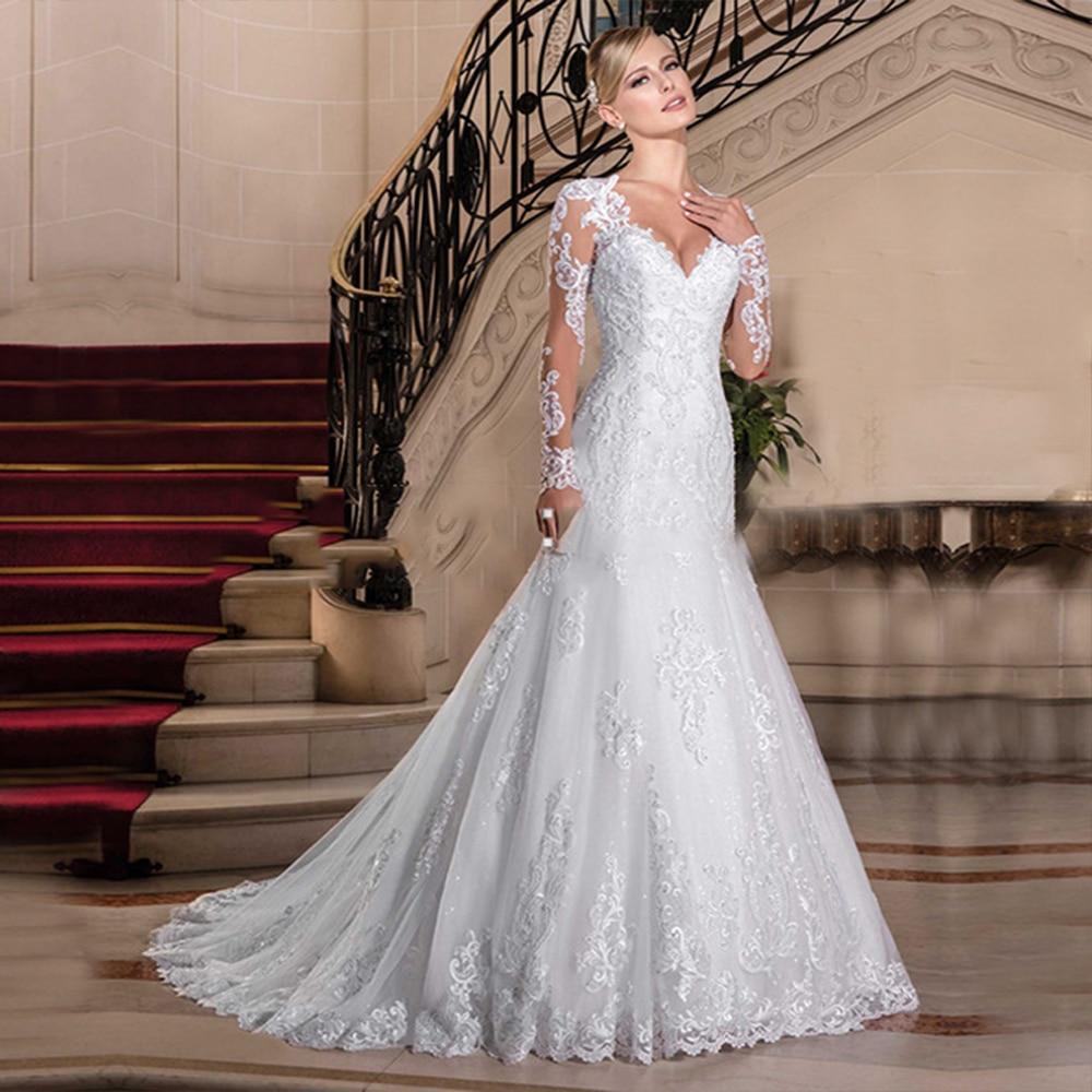 Luxury Mermaid Wedding Dress Plus Size Long Sleeves Bridal Gowns Sweep Train Vestido De Novias Bride Dresses Robe De Mariee 2020