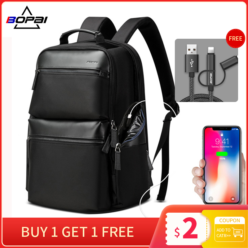 BOPAI Anti theft USB Charging Backpack Travel Laptop Bag Cow Leather for 15.6 inch Large Capacity Business Backpack Waterproof image