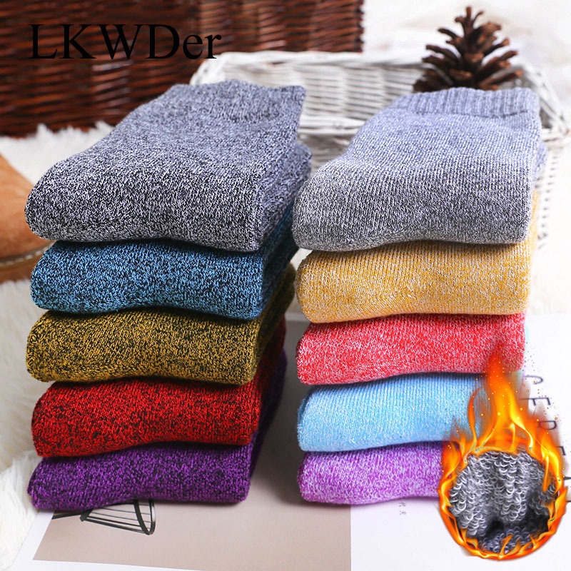 LKWDer 5 Pairs Winter Wamer Women's Thicken Thermal Wool Cashmere Snow Socks Seamless Terry Boots Floor Sleeping Socks For Lady