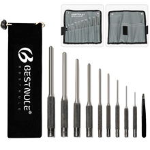 BESTNULE 10 Pieces Roll Pin Punch Set, Gunsmithing Punch Tools, Made of Solid Material with Canvas Bag