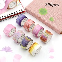 200 Pcs/Roll Diy Scrapbooking Dagboek Papier Stickers Zelfklevend Papier Tape Bloemblaadjes Washi Tape Briefpapier