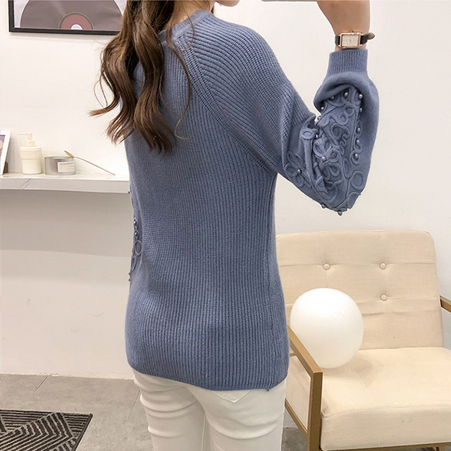 Ailegogo Womens Sweaters 2019 Autumn Winter Beaded Tops O Neck Women Soft Warm Pullover Jumper Knitted Sweater Knitwear 3