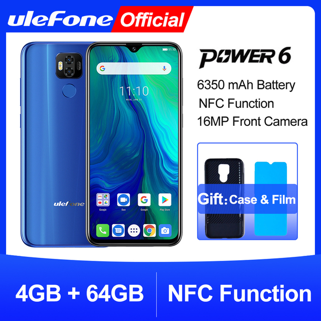 """Ulefone power 6 Smartphone Android 9.0 Helio P35 Octa core 6350mah 6.3"""" 4GB 64 GB 16MP face ID NFC 4G LTE Global Mobile Phones"""