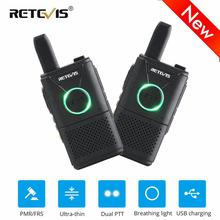 2pcs Retevis RT618 Mini Walkie Talkie Radio Station Ultra-thin Dual PTT Two Way Radio Portable FRS PMR446 Frequency hopping