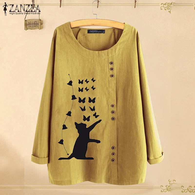 Элегантные топы с принтом кота, Женская Осенняя блузка 2020, ZANZEA, повседневные рубашки с длинными рукавами, женские блузы с круглым вырезом, бо...