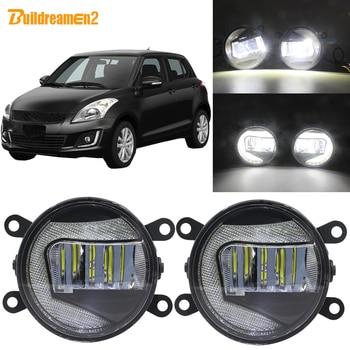 Buildreamen2 Car 90mm LED Projector Fog Light + Daytime Running Lamp DRL White 12V For Suzuki Swift MZ EZ Hatchback 2005-2015