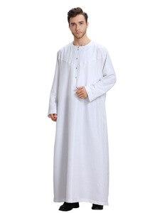Image 2 - ثوب قفطان طويل للرجال من Jubba Thobe كيمونو صلب سعودي Musulman ارتداء عباية قفطان إسلام دبي فستان عربي ملابس إسلامية