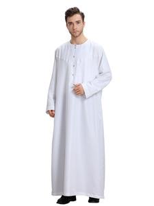 Image 2 - Uomini musulmani Jubba Thobe Kimono Lungo Abito Caftano Solido Arabia Musulman Usura Abaya Caftano Islam Dubai Arabo Vestito di Abbigliamento Islamico