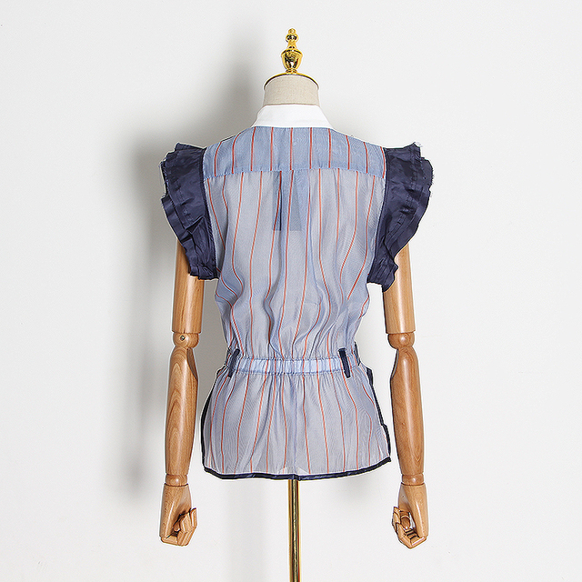 TWOTWINSTYLE Striped Patchwork Ruffle Hit Color Shirt For Women Turtleneck Sleeveless Shirts Female Spring Fashion New 2020