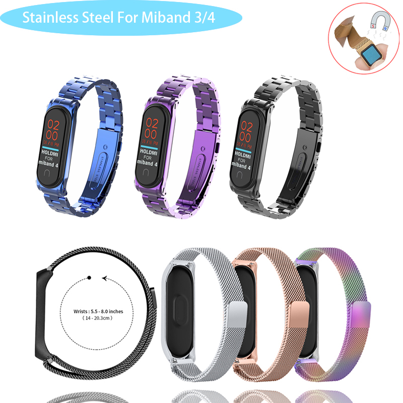 Magnetic Wrist Strap For Xiaomi Mi Band 3 4 Mi Band 4 Replacement Metal Strap Wrist Strap Stainless Steel Bracelet Wristbands