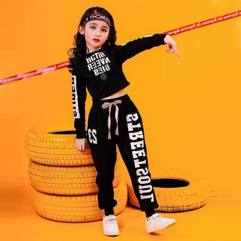 2Pcs Fashion Girls Clothes Set Letter T Shirt Kids Hip-hop Girl Clothes Pants Tracksuit Children Clothing Suit Child Outfits