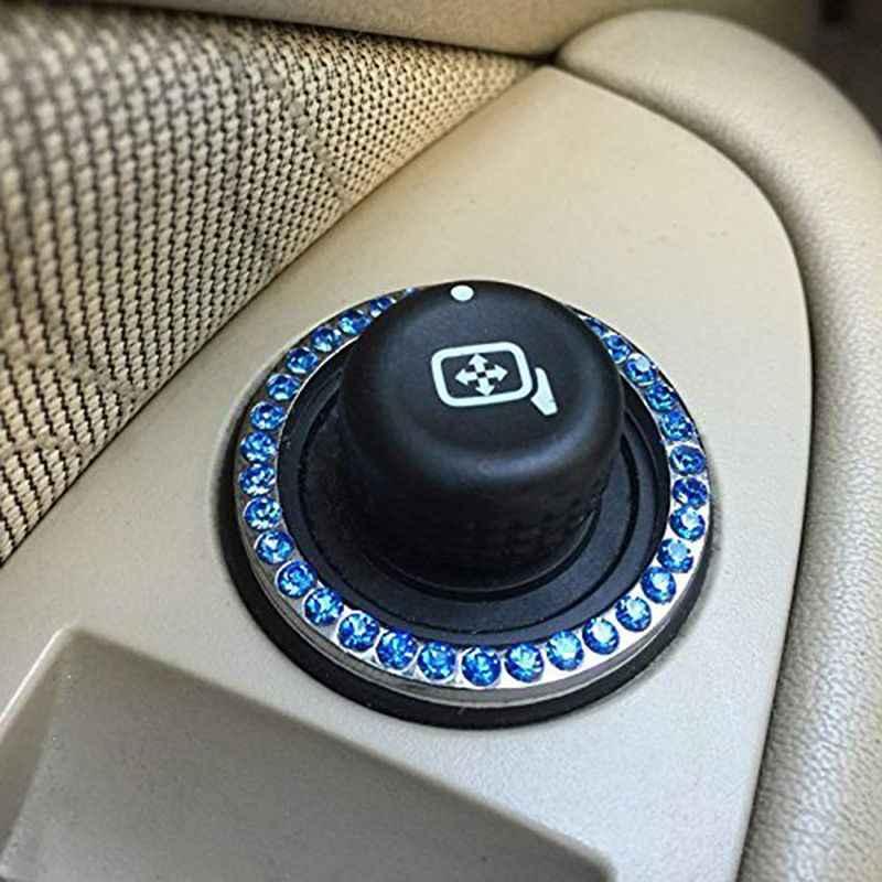 Decoração do carro de Cristal Anel de Strass Bling Do Carro Emblema Etiqueta Para Auto Motor de Arranque Botão De Ignição Chave