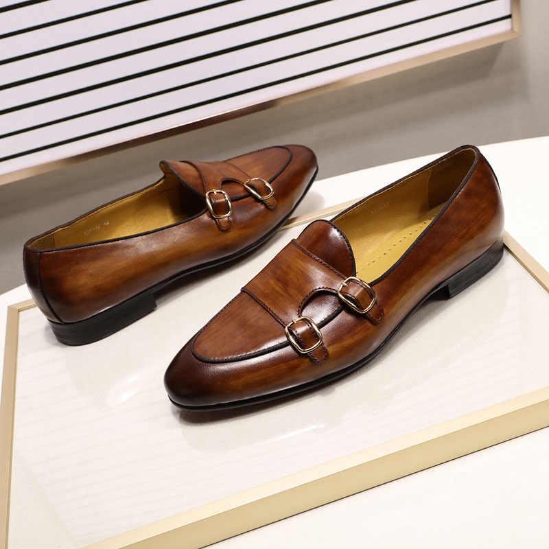 FELIX CHU ของแท้หนัง Mens Loafer รองเท้ามือทาสี Monk สายคล้องลำลองผู้ชายรองเท้าสีดำรองเท้า
