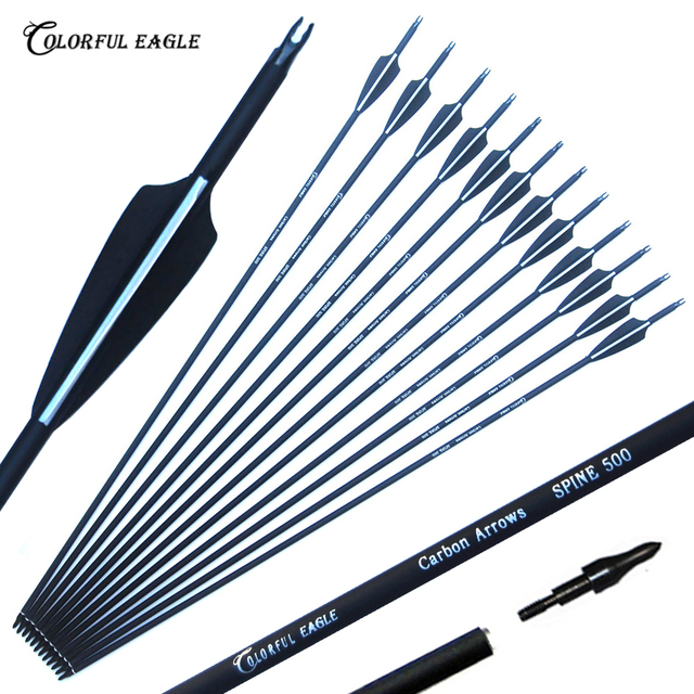 6/12/24/30pcs/lot Carbon Arrow 28/30/31 Inch Spine 500 with Replaceable Arrowhead for Compound/Recurve Bow Archery Hunting 1