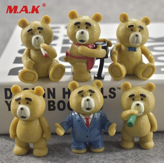 Kids Toys 5.5cm 6pcs/set Anime Figure Teddy Bear PVC Action Figure Collection Model Doll Toys Gift