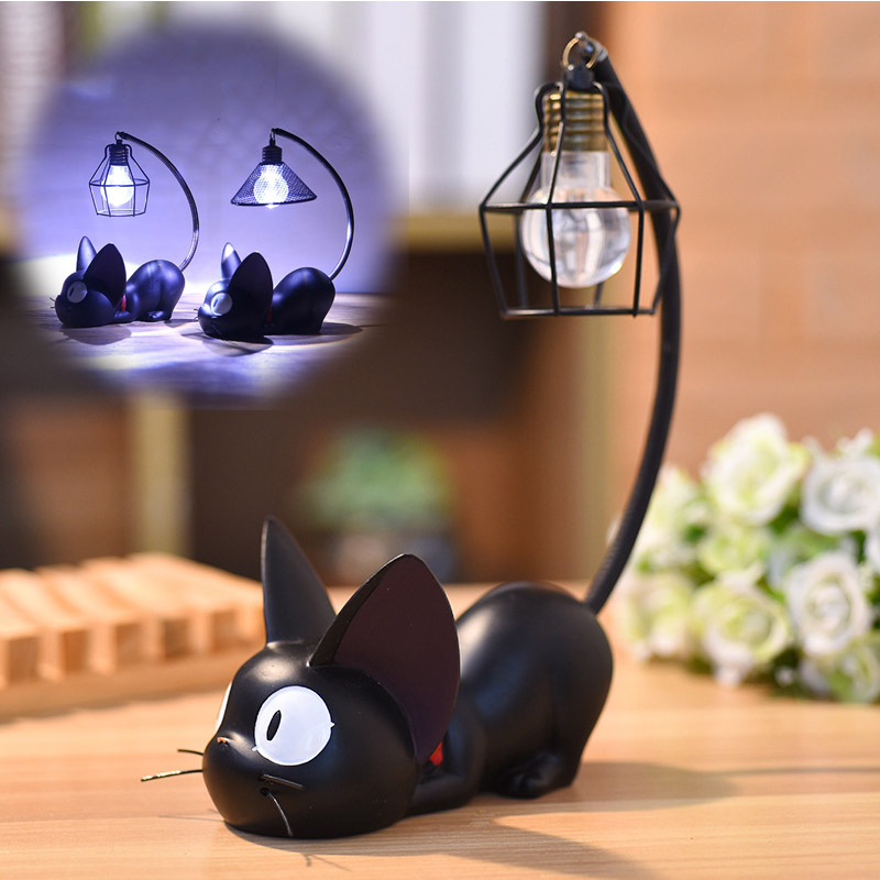 Led Black Cat Night Light Resin Animal Home Decoration Cute Mini Bedside Lamp Crafts Birthday Holiday Gift