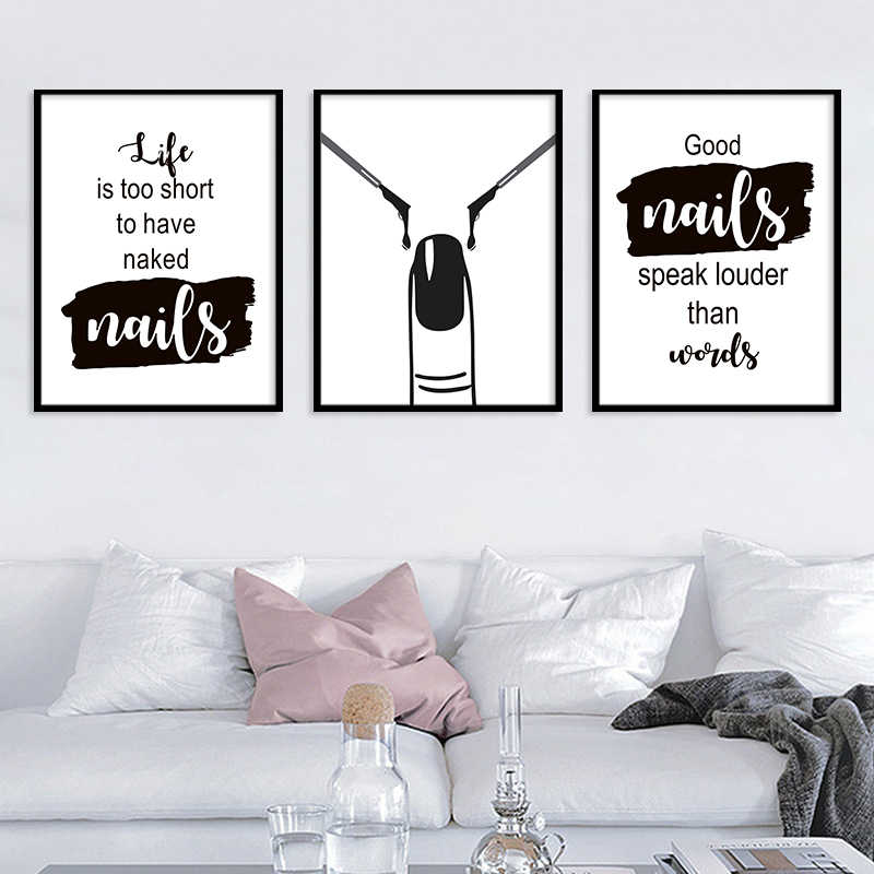 Black And White Nail Polish Abstract Wall Art Canvas Painting Nordic Posters And Prints Quotes Wall Pictures Living Room Decor