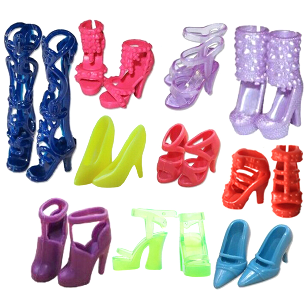 10 Pairs Fashion For  Doll Accessories Clothes Dress Prop Crystal Assorted Fashion Colorful Sandals Copy High Heels Shoes-0