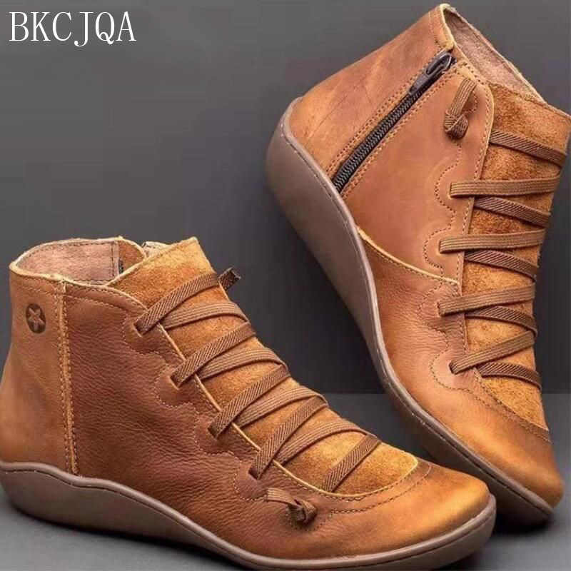 Vrouwen PU Lederen Enkellaars Vrouwen Herfst Winter Cross Schoenen Strappy Vintage Vrouwen Schoenen Platte Dames Sneaker Vrouw Botas mujer
