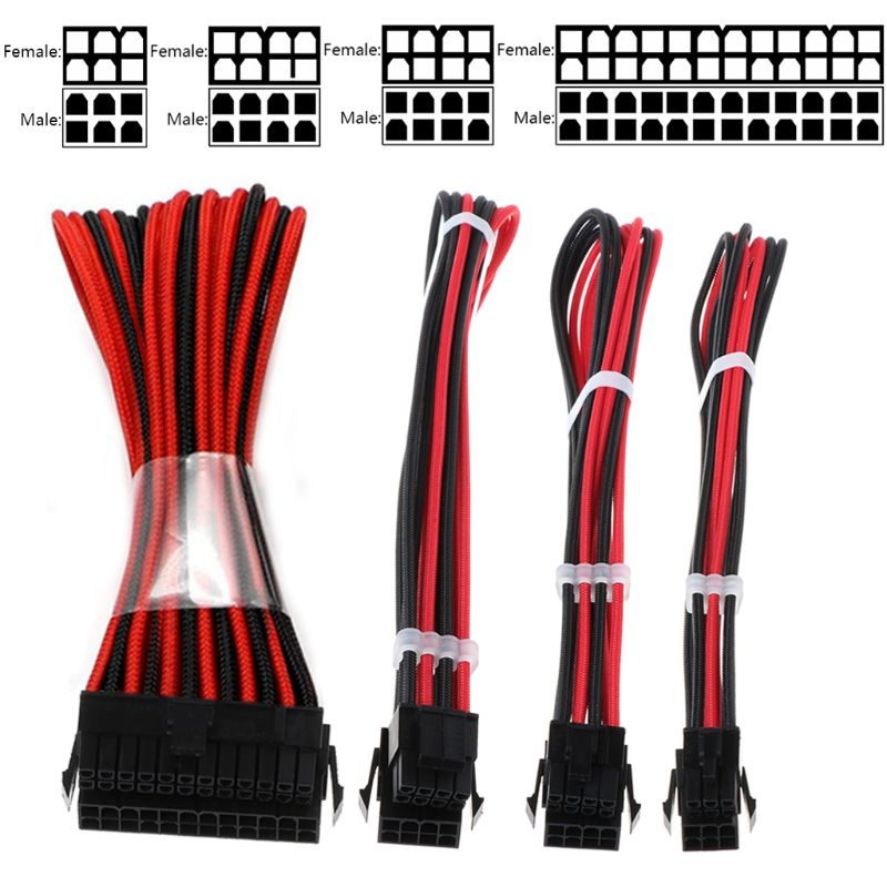 1Set Basic Extension Cable Kit 1pc ATX 24Pin 1pc EPS 4+4Pin 1pc PCIE 6+2Pin 1pc PCI-E 6Pin Power Extension Cable For PC Computer