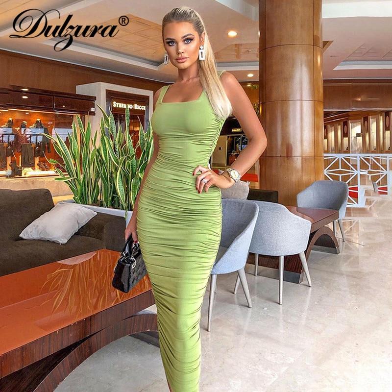 Dulzura ruched women midi shirt dress bodycon sexy sleeveless elegant party backless streetwear 2020 spring summer clothes club 1