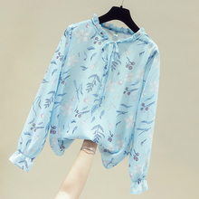 3XL Plus Size Long Sleeve Print Chiffon Blouse Shirt Tops Blouse Women Blusas Mujer De Moda 2021 Womens Tops And Blouses D764